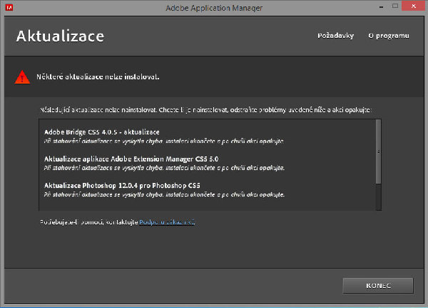 Adobe photoshop CS5 - Nelze dokončit aktualizace - Živě cz